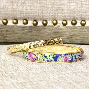 Lilly Pulitzer Bangle Set Hammered Gold Colorful